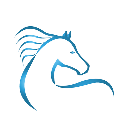 horse vector: Blue racing horse