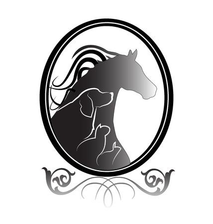 Dog cat horse and rabbit logo frame design vector image Illustration