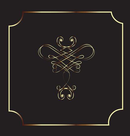 dingbats: Frame gold vintage design element vector