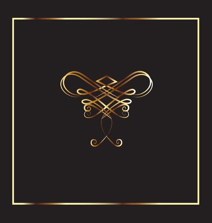 dashes: Frame gold vintage design element vector
