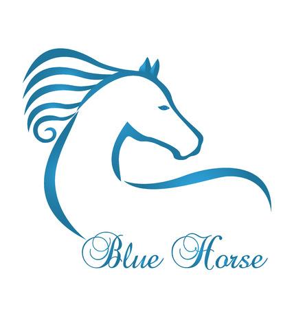 Blue horse silhouette logo