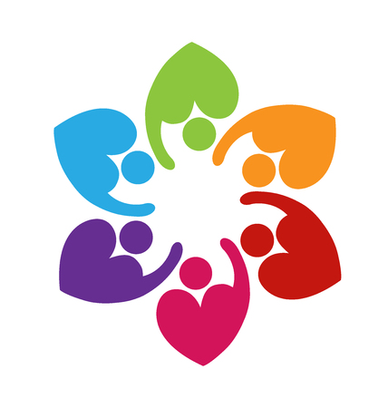 Teamwork love heart shape colorful logo