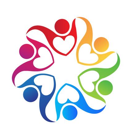 Mensen die handen houden kleurrijke pictogram logo liefde vorm Stock Illustratie