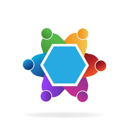 Teamwork meeting business people icon vector logo