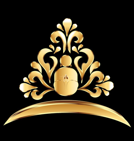 beautiful men: Gold yoga man lotus flower icon vector