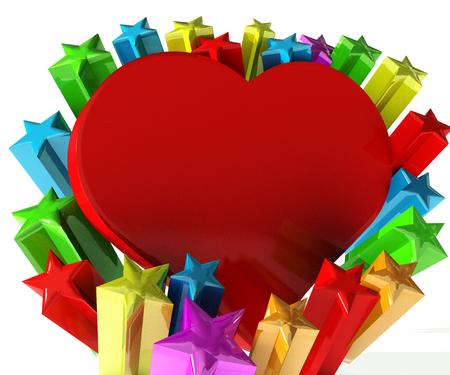 estrella: El amor del corazón con coloridas estrellas de celebración