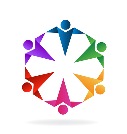 vivid colors: Teamwork people holding hands vivid colors origami style vector