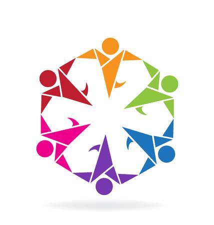 la union hace la fuerza: imagen del vector feliz del estilo de Origami trabajo en equipo
