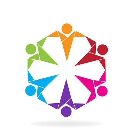 green heart: Teamwork people origami style vector