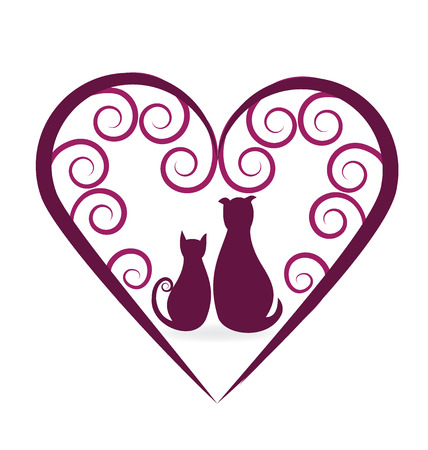 Dog and cat love heart vintage vector icon