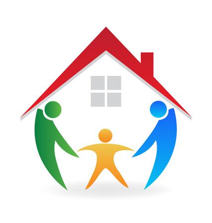 familias unidas: Familia gente a casa felices con una nueva tarjeta de diseño web de la Casa del icono del vector de identidad