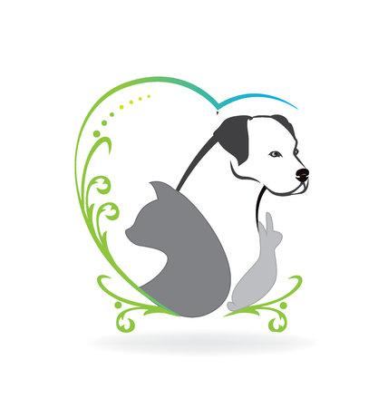 lapin silhouette: Chien chat oiseau et de lapin coeur d'amour cadre tourbillonnant Illustration