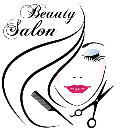 Beauty salon pretty woman hair face comb and scissors  logo vector design Çizim
