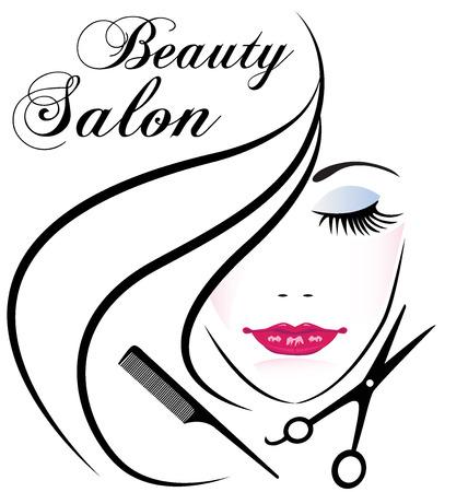 cabello: salón de belleza mujer bonita cara pelo peine y tijeras de diseño de logotipo vectorial