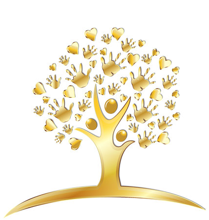 raised: Tree with hands and hearts figures gold design logo Illustration