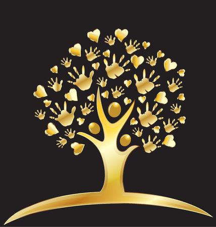 arbol genealógico: Árbol con las manos y los corazones Figuras diseño de la insignia de oro Vectores