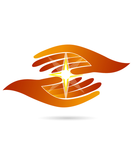 healing: Hopeful hands holding a shine guide light star icon vector logo design Illustration