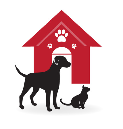 dog walking: Dog and cat with house and paws
