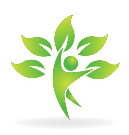 Salud naturaleza árbol figura atención vector icono de logotipo Foto de archivo - 68645770