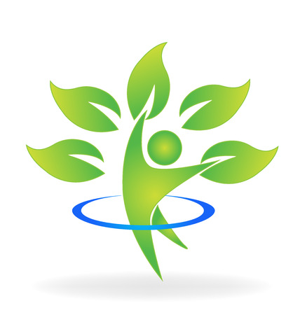 Health nature tree figure care vector web identity business card logo icon  イラスト・ベクター素材