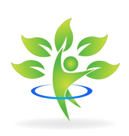 la naturaleza de la Salud identidad web icono del logotipo de la tarjeta de visita del árbol del vector del cuidado figura