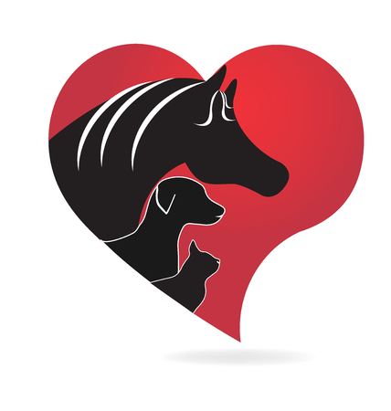 free clip art: Animals love dog horse and cat silhouettes
