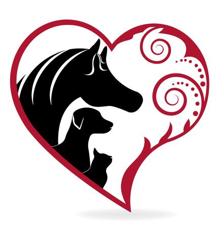 말 고양이와 강아지 문양의 심장 사랑 일러스트