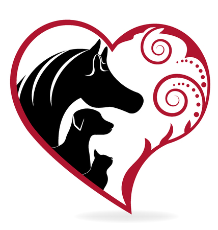 Horse cat and dog swirly heart love