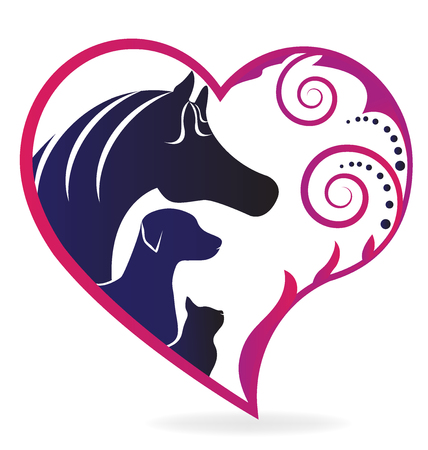 Horse cat and dog pink swirly heart love