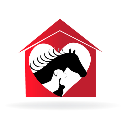 Horse cat and dog farm house heart love shape