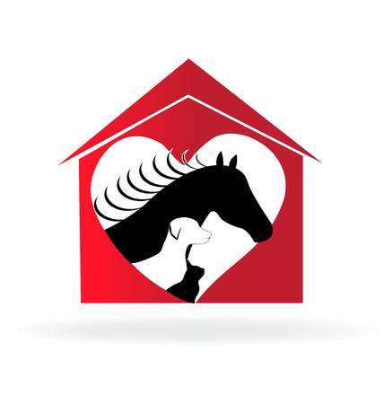 Horse cat and dog farm house heart love shape
