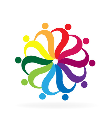 Teamwork helping people rainbow color business card logo vector design
