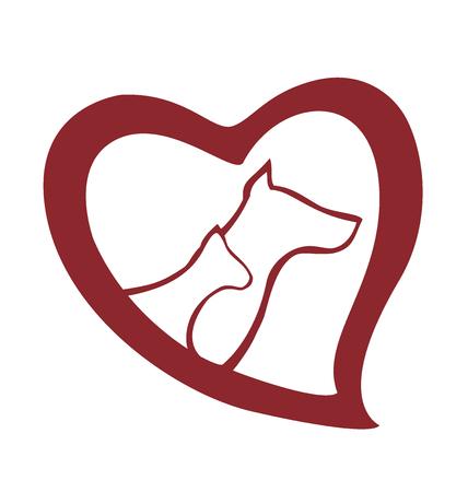 marioneta: Amor de perros y gatos icono de vector logo