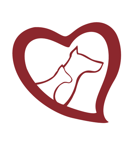 Love cat and dog icon logo vector