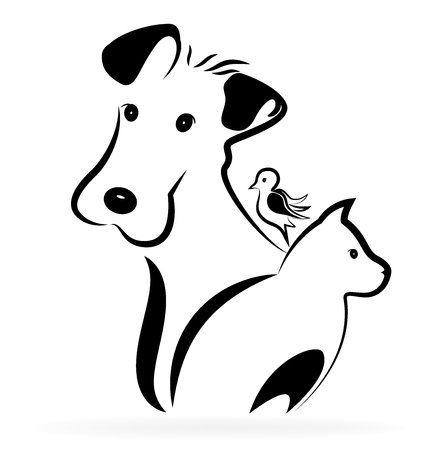 puppy and kitten: Dog cat and bird logo silhouette image Illustration