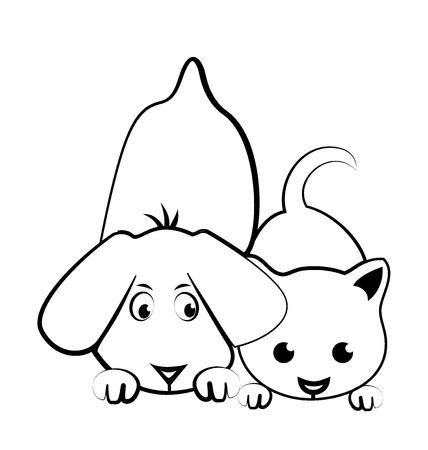 개와 고양이 만화 실루엣 로고 벡터
