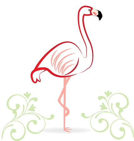 one animal: Pink flamingo floral icon