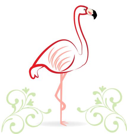 Pink flamingo floral icon