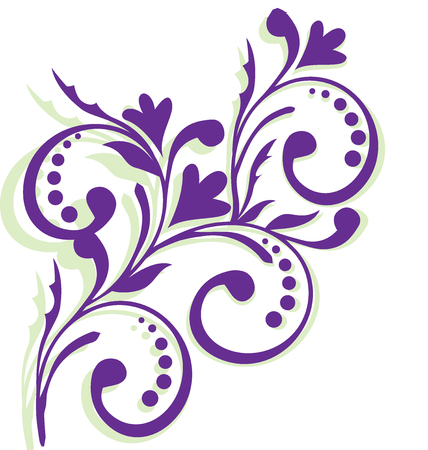 green and purple: Frame with lavender flowers (border, wedding, flower) Illustration