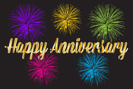 Happy anniversary gold text words with fireworks vector image