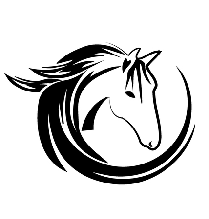doberman: Horse circle shape logo vector design