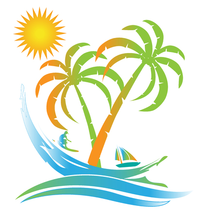 Tropical island sunny beach paradise logo id card