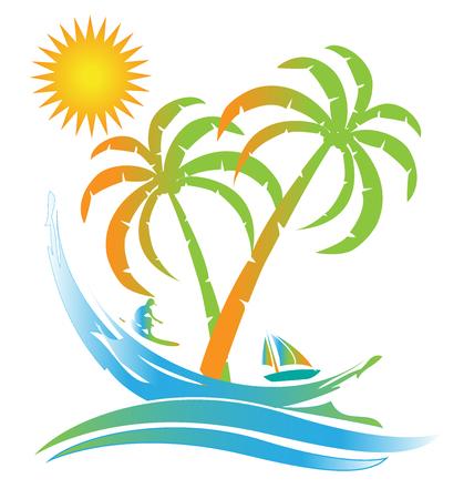 people relaxing: Tropical island sunny beach paradise logo id card