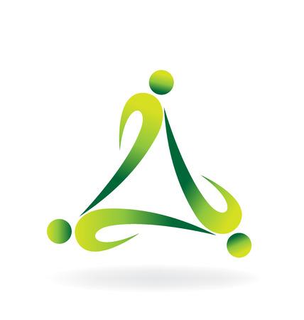 Teamwork green ecology logo vector Illustration