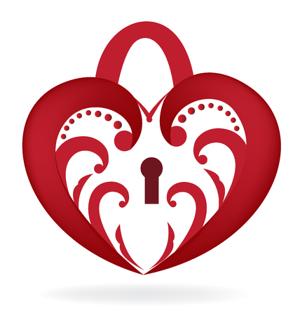 Floral red heart love lock vector image logo icon