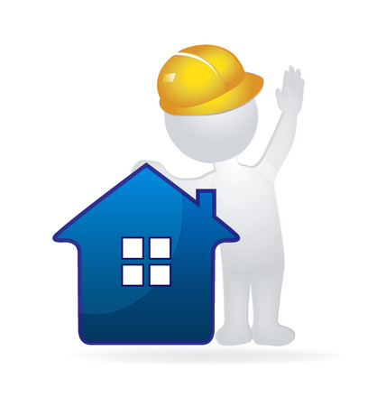 Dom i Konstruktor 3D człowiek. Nieruchomości grafika wektorowa logo firmy