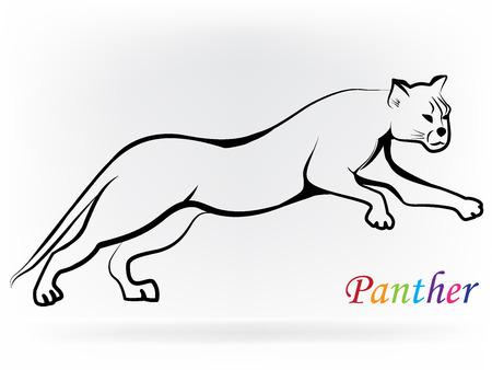 Vector De Imagen De Un Diseño Pantera Saltar La Silueta ...