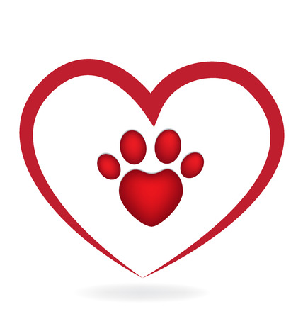Love Paw Print icon logo application id vector image
