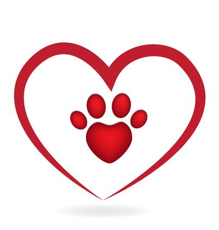 Liebe Paw Print Icon Logo Anwendung ID Vektor Bild Standard-Bild - 69369361