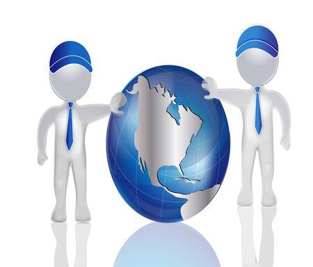 globe logo: 3D men with world map globe vector logo
